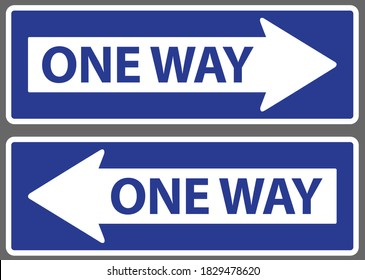 Arrow and wording one way on blue background warning or caution sign.