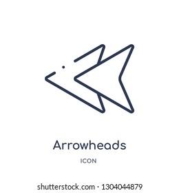 arrowheads icon from user interface outline collection. Thin line arrowheads icon isolated on white background.