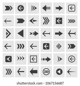 Arrowheads icons. Vector arrow glyphs or arrowhead signs for navigation, websites and buttons
