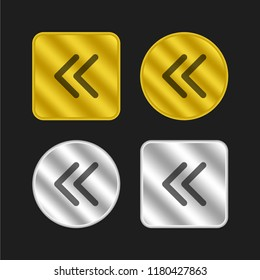 Arrowheads of thin outline to the left gold and silver metallic coin logo icon design
