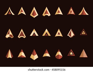 Arrowheads vector icon set. Beige and brown colors. Decorative flat symbols on a dark brown background. Easy to recolor. Vector illustration.