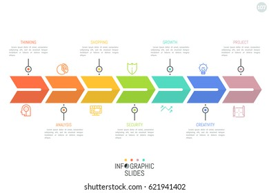 Arrow-like stripe divided into 7 rainbow colored parts with pictograms and text boxes. Progressive steps in business development concept. Minimal infographic design template. Vector illustration.