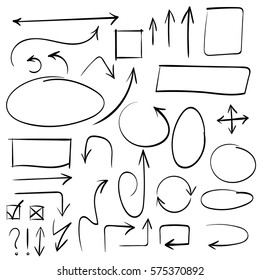 Arrows and abstract shapes doodle writing design vector set, black