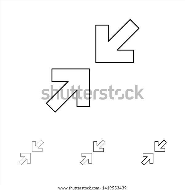 Arrows Arrow Zoom Bold Thin Black Stock Vector (Royalty Free