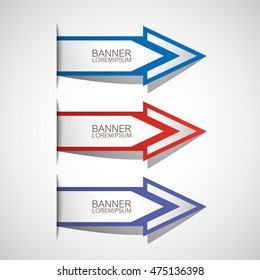 Arrows Banner Set - Isolated On Gray Background. Vector Illustration, Graphic Design. For Web, Websites, Print, App, Presentation Templates, Mobile Applications And Promotional Materials
