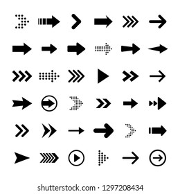 Arrows big black set icons. Arrow icon. Arrow vector collection. Arrow. Cursor. Modern simple arrows. Vector illustration