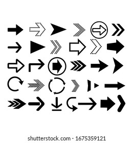 Arrows big black set icons. Arrow vector collection. Vector illustration