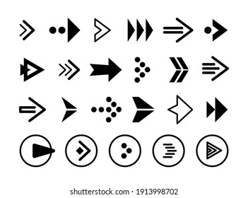 Arrows black icon set on white background. Arrow icon. Collection of vector arrows. Arrow. Cursor. Modern simple arrows. Vector illustration for the site, application.