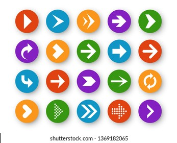 Arrows button. Arrow icon up next back down left website play navigation cursor app interface upload page arrowheads, color vector circle buttons