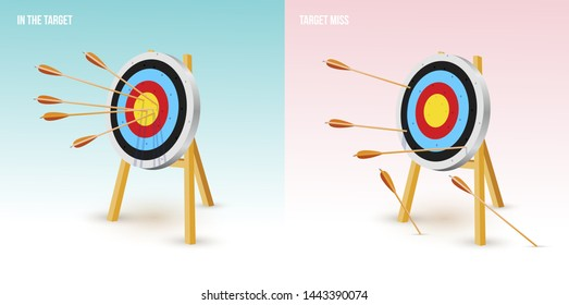 Arrows at the center of the target. Always dart in the target. And all miss the target goal. Failing to hit the target. Vector illustration. Isolated on white background.
