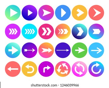 Arrows in circle icon. Website navigation arrow button, colorful gradient round back or next sign and web arrowhead. Download application arrowheads vector isolated symbols set