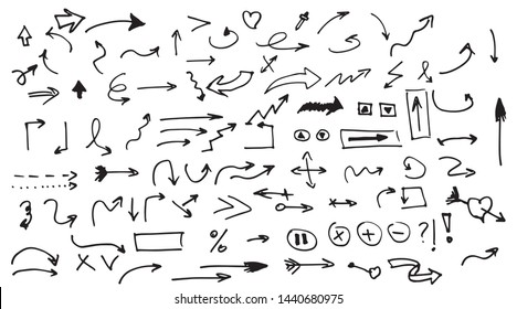 Arrows circles and hand-drawn icons. Isolated vector hand drawn arrows set.  Watercolor Doodle Vector.