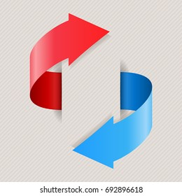 Arrows in circular motion. Red and blue shiny icons. Vector 3d illustration on beige background