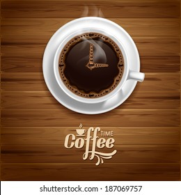 Arrows of clock on the coffee surface. Coffee time concept.