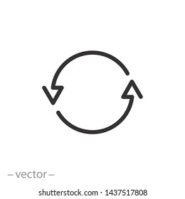 arrows cyclic rotation icon, two arrows recycling recurrence, renewal line symbols on white background - editable stroke vector illustration eps10