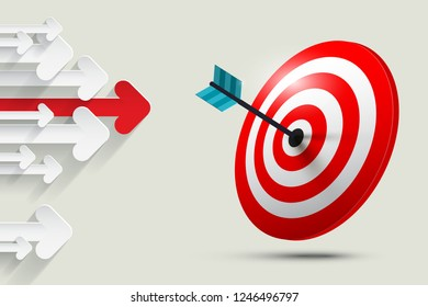 Arrows with Dart on Target. Business and Marketing Success Concept.