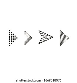 Arrows. Doodle hand drawn vector arrows. Set black arrows on white background. Isolated vector Illustration. Arrow iconfor web