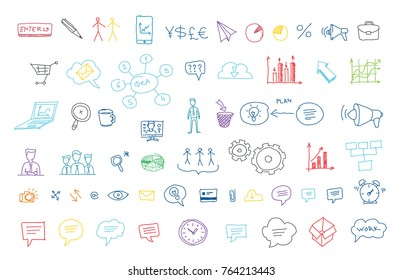 Arrows drawing set for presentation The idea of business. People and communication Painted by hand. Lines in pencil sketch rough draft