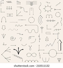 The arrows drawn in the vector. Fully editable vector elements.