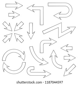 Arrows. Flat outline icons set. Vector illustration isolated on white background