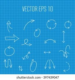 Arrows hand drawn vector set on blueprint paper background. Vector arrows icons hand drawn. Arrow elements doodles. Curve Arrows hand drawn doodles icon set.