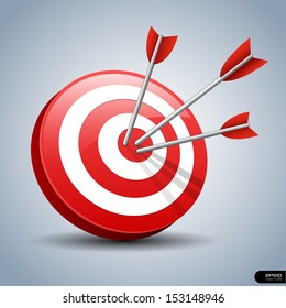 Arrows hitting a target. One target and three arrows. Business goal concept. Isolated vector illustration.