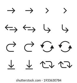 Arrows icon set. Black arrows