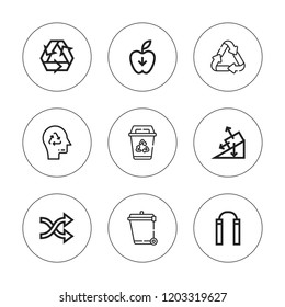 Arrows icon set. collection of 9 outline arrows icons with gravity, nunchaku, recycle, recycling icons. editable icons.