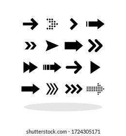Arrows icon set in flat style. Arrows symbols for your web site design, logo, app, UI Vector EPS 10.