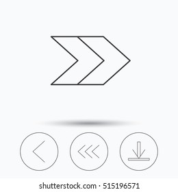 Arrows icons. Download, left and right direction linear signs. Next, back arrows flat line icons. Linear icons in circle buttons. Flat web symbols. Vector