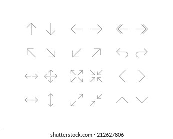 Arrows icons set in line style