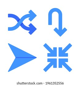 Arrows icons set = shuffle, u turn, paperplane, minimize . Perfect for website mobile app, app icons, presentation, illustration and any other projects.
