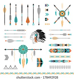 Arrows, Indian elements, Aztec borders and embellishments