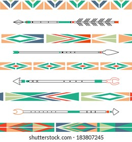 Arrows, Indian elements, Aztec borders and embellishments in vector