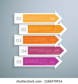 Arrows infographic in 5 steps or processes