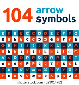 Arrows letters set. Vector design template elements for your application or corporate identity.