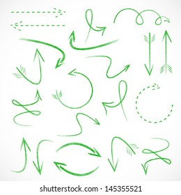 Arrows And Lines - Hand Drawn - Set - Isolated On Gray Background - Vector illustration Graphic Design Editable For Your Design.