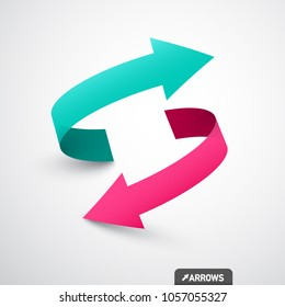 Arrows Logo Concept. Double Arrow Symbol. Vector 3d Icon.