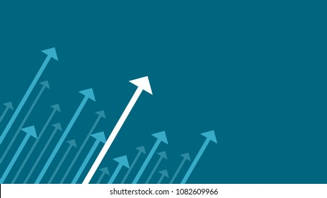 Up arrows on blue background illustration vector for business and finance. Editable stroke, text space composition, minimalist style, growth concept.