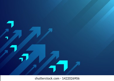 Up arrows on blue background illustration, copy space composition, business growth concept.