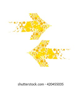 Arrows on the left and right yellow on a white background