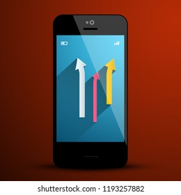 Arrows on Mobile Phone Screen