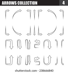Arrows outline black and white collection spear tail. vector illustration.