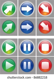Arrows and player button Icon set. Web ready button on and off status. In the vector file the symbol are in a different layer, easy to modify.