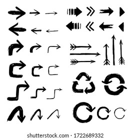 Arrows pointer collection set vector elements black