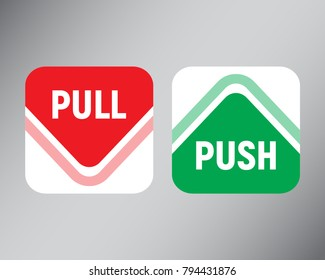 Arrows pointing to Push or Pull. Vector illustration.