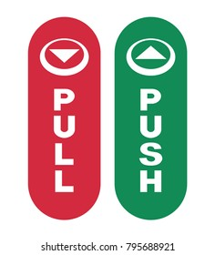 Arrows to Push or Pull. Vector illustration.