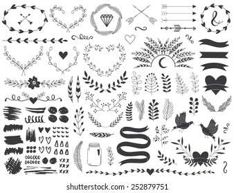 Arrows, ribbons, flowers and Indian elements for you design.