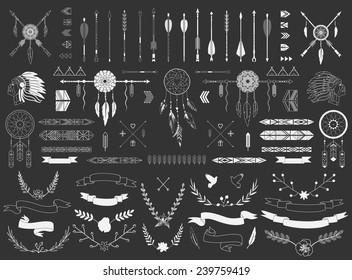 Arrows, ribbons, Indian elements, Aztec borders and embellishments