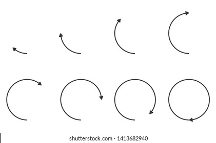 Arrows rotation of angle 45 degree to 360 degree angle